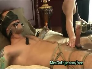Bound muscle gay penis jacked and licked
