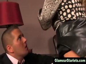 Clothed glam light-haired caresses on prick