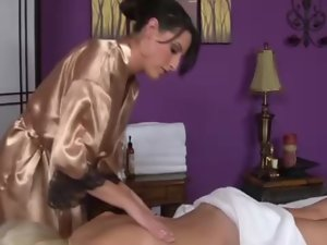Massage for young woman begins with fingering before oral