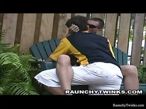 Sensual Dark haired Twinks Backyard Makeout