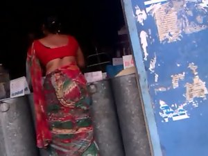 Red Attractive Aunty in Red Saree 03