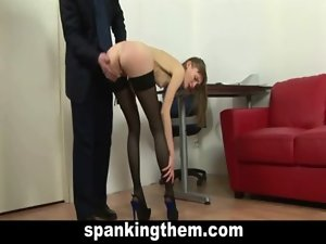 The spanking of secretary young lady