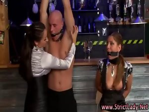 Fetish domina strokes bound victim