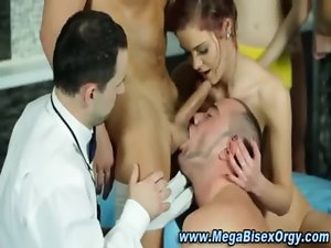 Bisexual crazy threesome action strokes penis