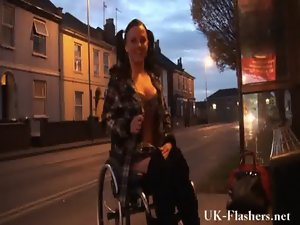 Leah Caprice flashing muff in public from her wheelchair with handicapped engli
