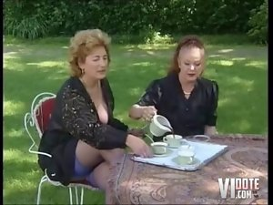 Two Grannies Receive Tea And Cock, outdoors sex fisting cock sucking stockings hairypussy lingerie experienced cu