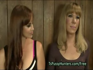 Big titted redhead butt banged by transsexual