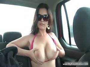 Who is She? Cougar masturbates in car