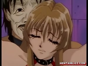 Chained hentai gets whipped and squeezed her bigboobs