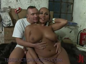 So Pretty Top heavy BLACK Thick Transsexual LETING A Lad HAVE IT!