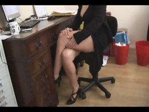Chesty solid tempting blonde secretary strips and spreads