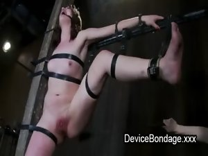 Strapped to a post lady brutal flogged