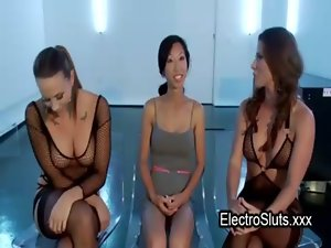 Shackled wired Asian bum fisted in trio