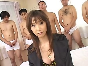 Asian screwed while men cum on her face