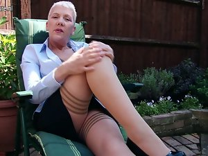 Wild English slutty mom masturbating in garden