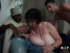 Thick French granny rough double penetrated in foursome