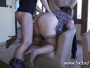 French aged Julia gangbanged in stockings