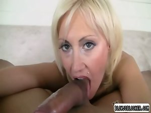 Tempting blonde gal gagging on enormous shaft