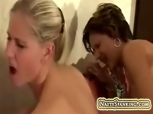 Vagina eating and spanking alluring ladies