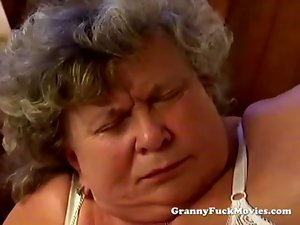 Big plump granny blowing phallus