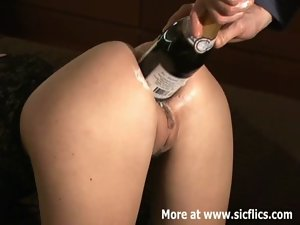 Extreme rectal fisting and champagne bottle fuck