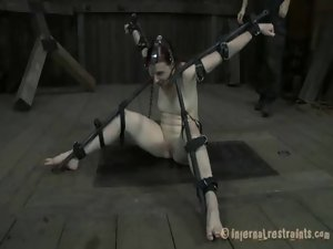 Tied up knockers with toy gratifying