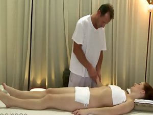 Ginger ladies erotic massage with her stud masseuse