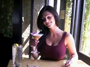 Denise Milani Fun in Restaurant - non naked