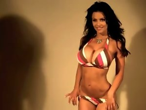 Denise Milani Luscious striped Bikini - non naked