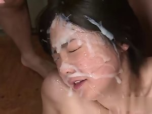 Filthy asian bukkake