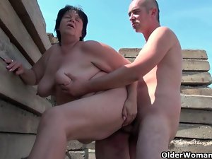Ugly grandma with 1 inch nipples shagged outdoors