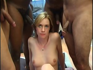 English Blond Dirty wife Has Surprise BBC Gangbang