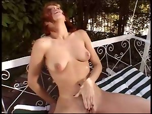 Redhead Uses Giant Toy To Please Herself