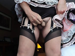 Sissy ray in rosy sissy dress and black panties