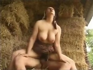 Nice looking mamma with shaggy pussy & saggy hooters on village