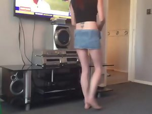 Young lady cleaning upskirt