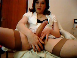 transvestite retro stockings prick and ball play