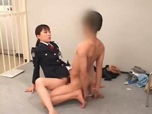 Strange asian sex with lewd police wench grinding a male prisoner