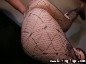 Goth fetish hussy in stockings