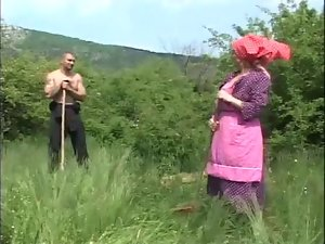 Granny drilled in the fields