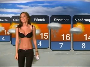 Lewd Girl Striptease in Hungarian Weather Forecast