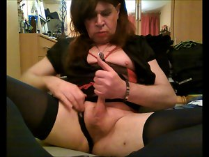 Circumcised Transsexual Whore rubs her tiny phallus in panties