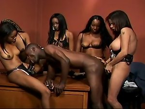 Blackman got Butt banged by angry Black Vixens