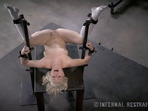 Skinny Blondie Submissive In Device Bondage