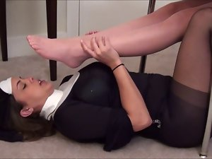 Nun Worships Student's Pantyhose Feet