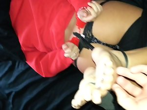 Barefeet tickled after being hogtied with her housewives pantyhose