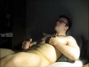 Hirsute Cub Jerks off in bed & Cums