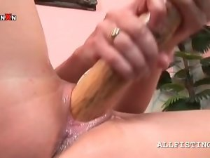 Nude attractive blond nails vagina with baseball bat
