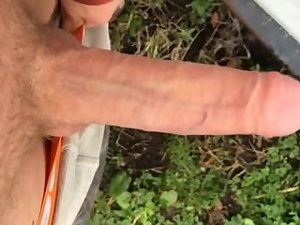 Exposing my strong throbbing dick outdoors