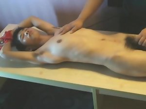 Bony Asian Young man Slave Stripped